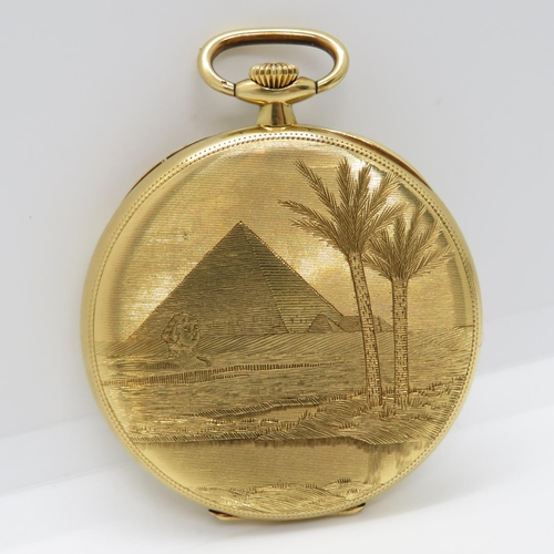 48 - Zenith 18ct pocketwatch Grand Prix Paris 1900 chronometer engraved with pyramids and sphinx to rear ...