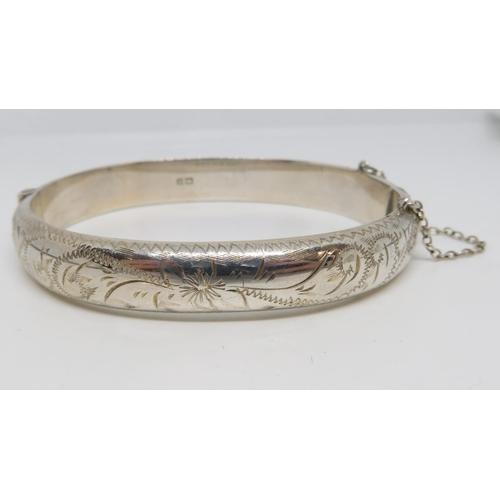 51 - Vintage silver bangle HM Birmingham 1965 15.5g