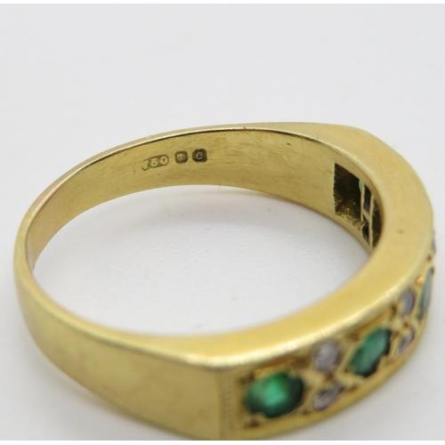 295 - Heavy 18ct green stone diamond ring 6.7g size R
