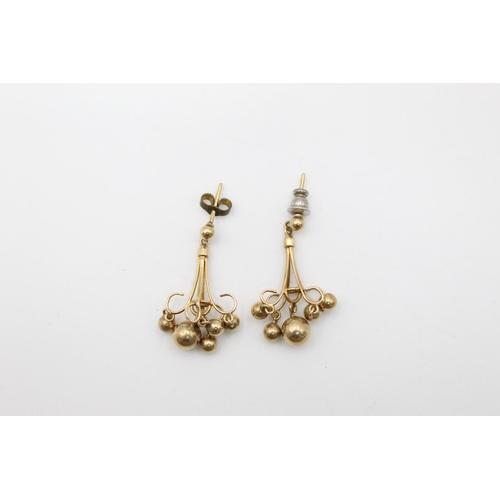9ct stylised ball design drop earrings 4.3g