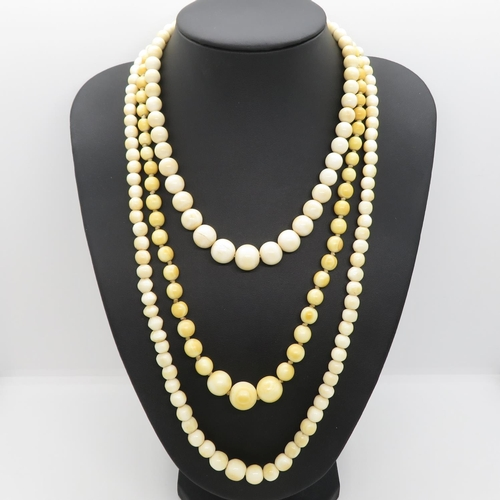 Victorian ivory necklaces 95g