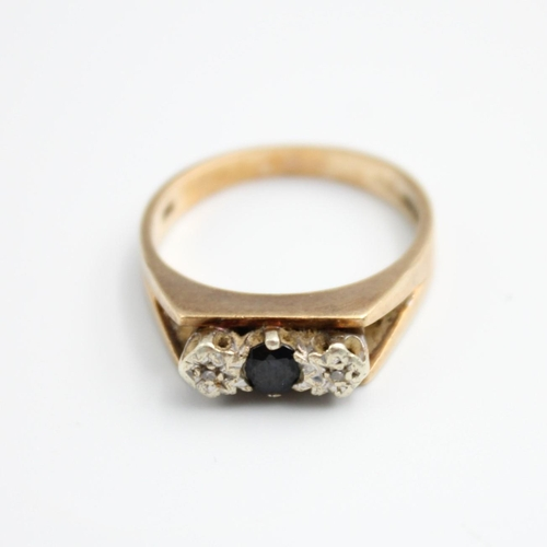 104 - 9ct diamond and sapphire dress ring 4.1g size P