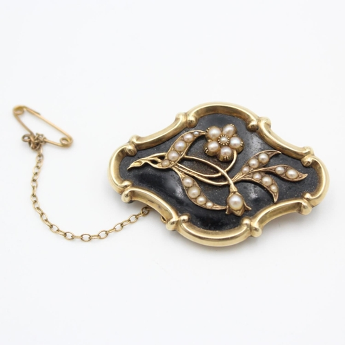 105 - 14ct antique mourning brooch with seed pearl floral design 10.4g