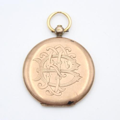 106 - Antique 9ct photo locket pendant with family crest 9.3g