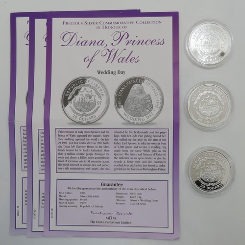 330 - Diana Princess of Wales 3x Commemorative coins all 1oz 31.1g in 999 silver