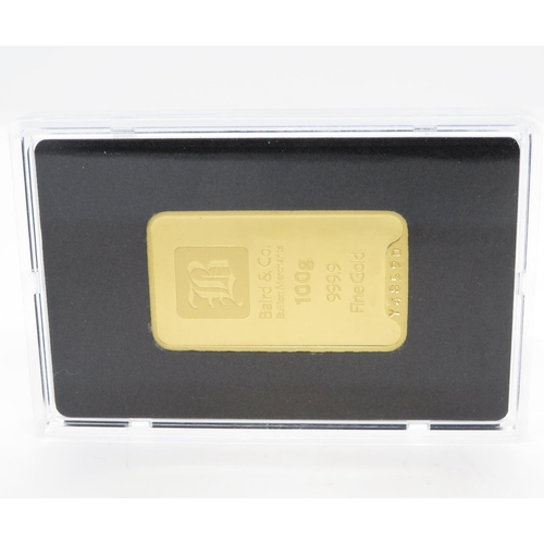 331 - Baird and Co. 100g 999.9 fine gold bar with full certificate in sealed pack