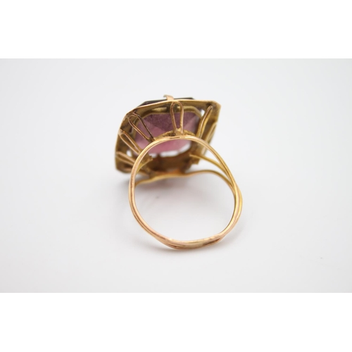 1 - 15ct rose gold amethyst paste cocktail ring 5.4g  Size P