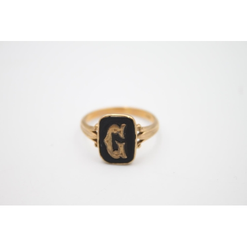 10 - antique 9ct gold 'G' initial onyx signet ring 3.5g Size R