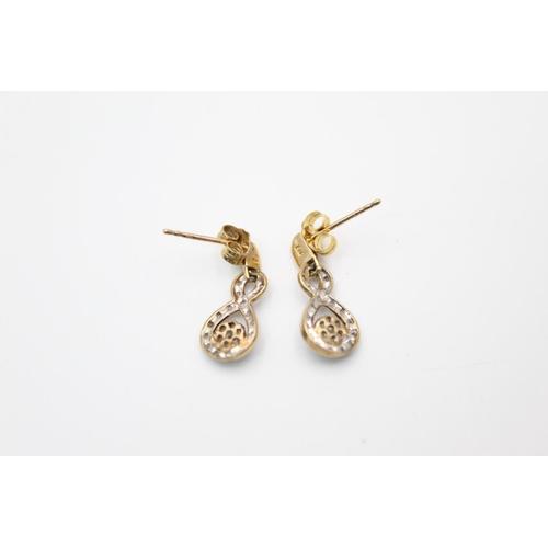 11 - vintage 9ct gold diamond cluster drop earrings 1.5g