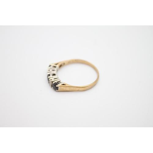 13 - vintage 9ct gold diamond & sapphire 5 stone ring 2g Size P