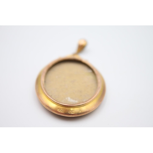 14 - antique 9ct gold double sided photo locket pendant 9.8g