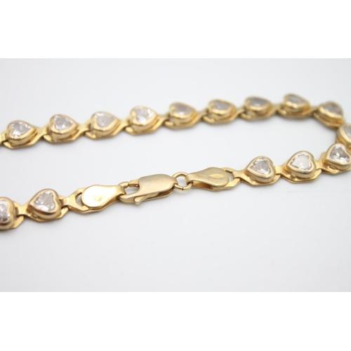 16 - 9ct gold gemstone heart tennis bracelet 8.1g