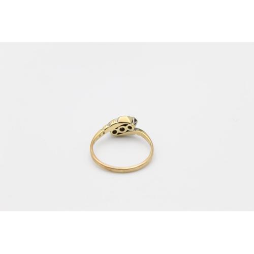 17 - antique 18ct gold diamond trilogy ring 3g Size P
