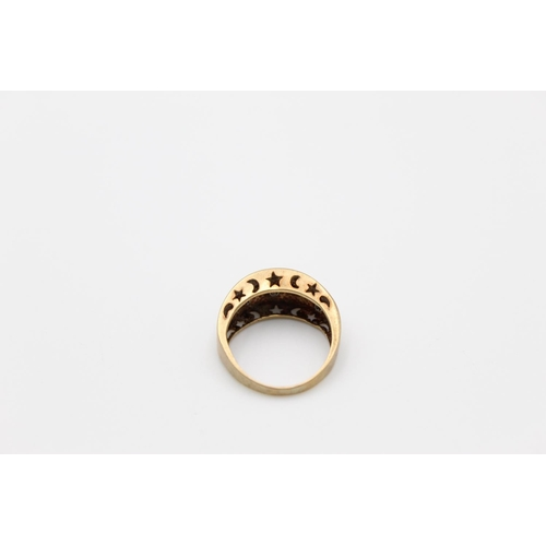 18 - vintage 9ct gold diamond set dress ring 3.3g Size M