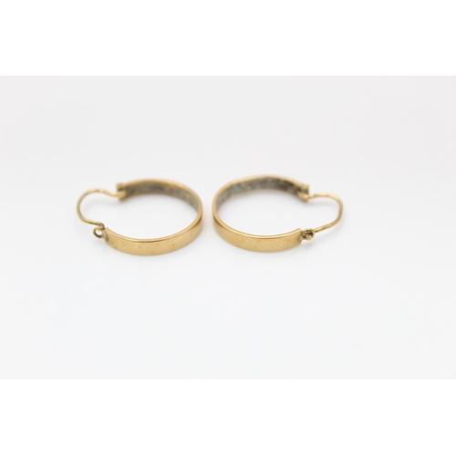 2 - vintage 18ct gold turquoise set hoop earrings 2.5g
