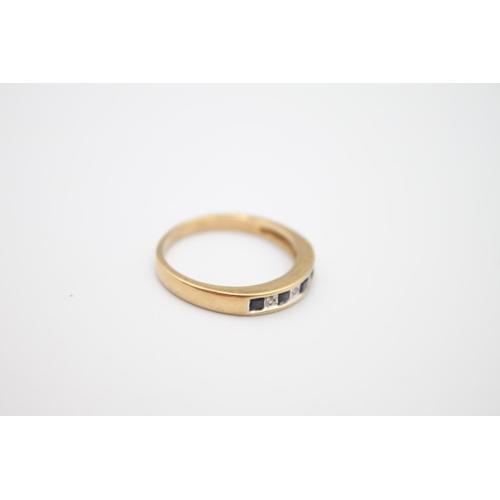 21 - vintage 9ct gold sapphire & diamond half eternity ring 2.5g Size O