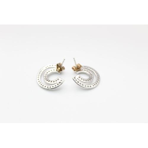25 - 9ct White gold diamond detail statement hoops 3.1g