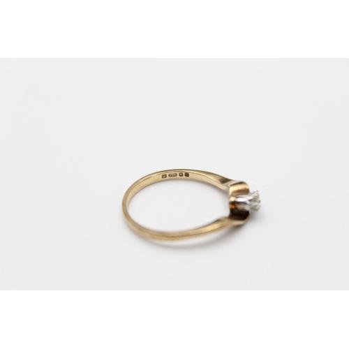 26 - vintage 9ct gold diamond moi et toi ring 1.8g Size P
