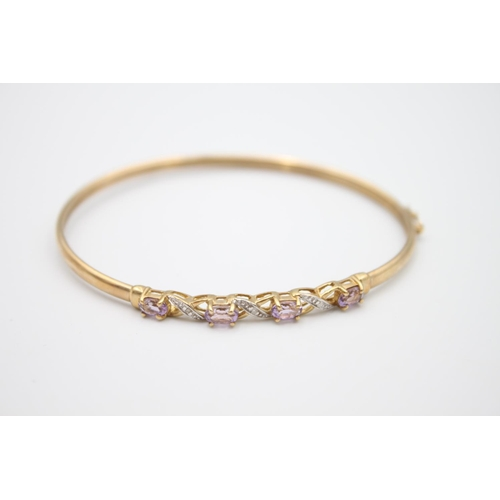9ct gold amethyst and diamond bangle 4.2g