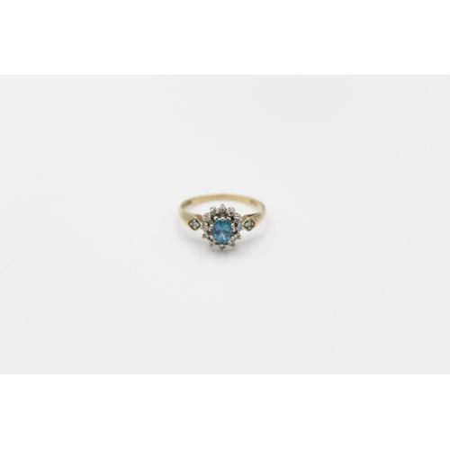 27 - vintage 9ct blue gemstone & diamond halo ring 1.5g Size K
