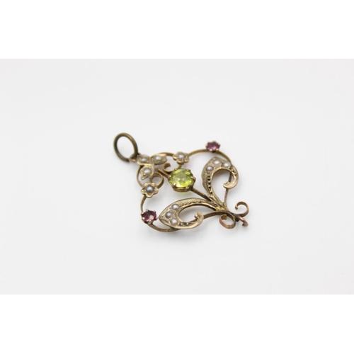 28 - antique 9ct gold peridot, garnet & seed pearl drop pendant 1.6g
