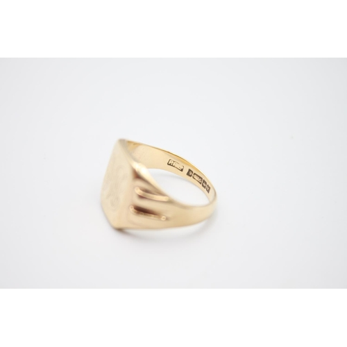 31 - vintage 9ct gold engraved signet ring 6.5g Size O
