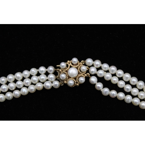 32 - 9ct Gold clasp pearl multi strand choker necklace 40.2g