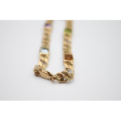 33 - 9ct gold mutli-gem bracelet with amethyst, garnet and citrine 8.8g