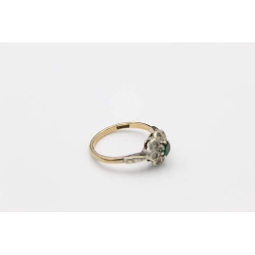 4 - vintage 9ct emerald & gemstone halo set ring 2.5g Size N