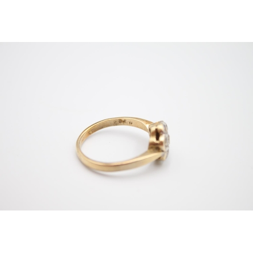 42 - vintage 9ct gold gemstone cluster ring 3.5g Size R