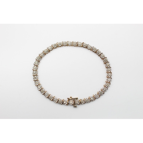 43 - 9ct gold diamond tennis bracelet 6.4g