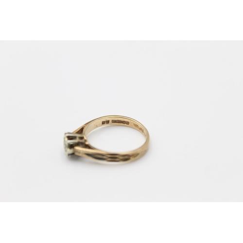 45 - Vintage 9ct gold diamond detail ring 2.6g Size N