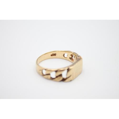 47 - vintage 9ct gold curb link design signet ring 5.2g Size W
