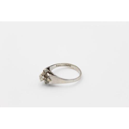 48 - Vintage 9ct white gold brutalist diamond ring 2.5g Size L