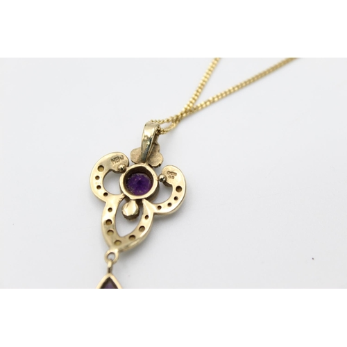 50 - 9ct gold amethyst & pearl drop pendant necklace 6.5g