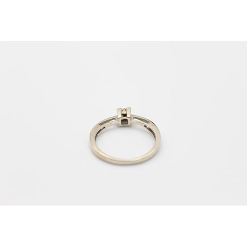 55 - 9ct White gold quadruple diamond ring 2.2g Size O