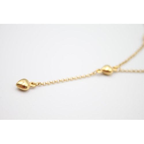 7 - 9ct gold heart detail drop necklace 4.4g