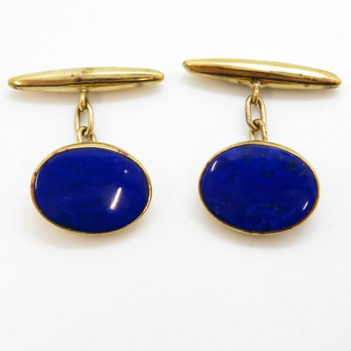 9ct gold lapiz lazuli cufflinks 5.1g