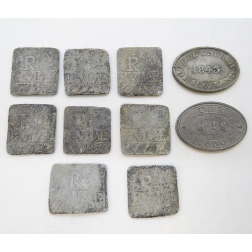 10x 1770-1840's Scottish Free Church lead tokens