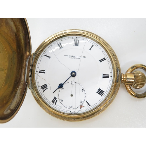 11 - Full Hunter gold plated pocket Watch by Thomas Russel and Sons Liverpool - runs but needs attention
