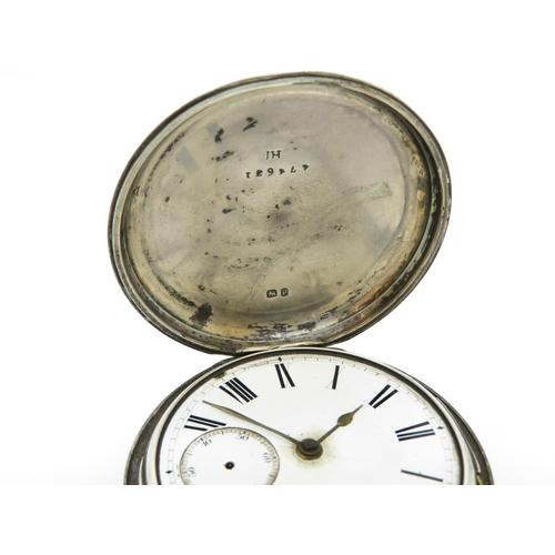 12 - Silver oversized pocket watch full Hunter - runs