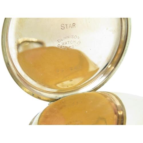 13 - Gold plated Star pocket watch - runs
