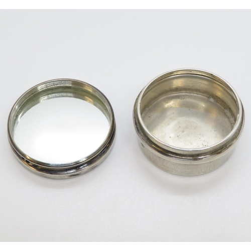 21 - Silver and tortoiseshell box with mirror inner lid - full HM