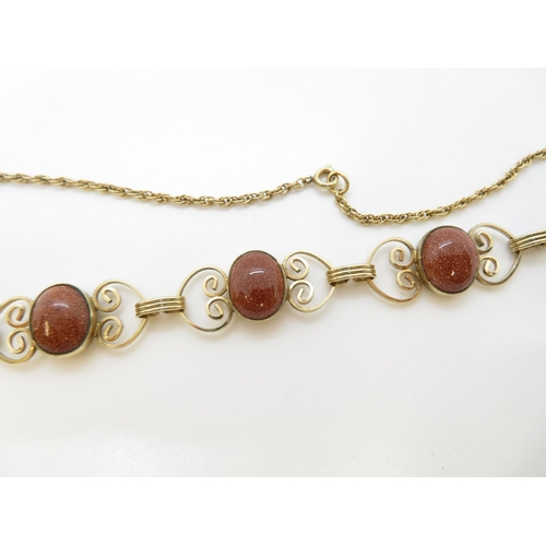 36 - 9ct gold with stones necklace 12g and 16