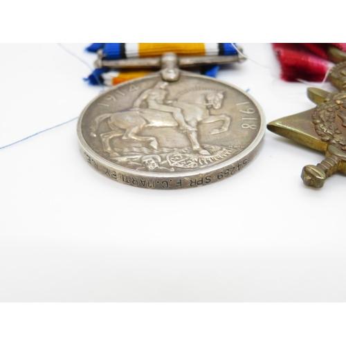 43 - WWI trio of medals 54259 SPR F.C.Hartley RE