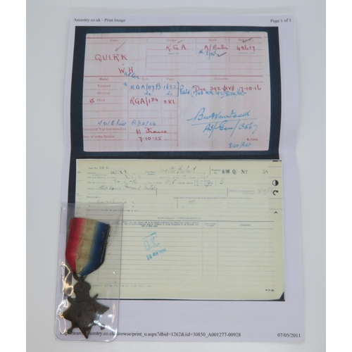53 - WWI medal to WH Quirk with paperwork and photo