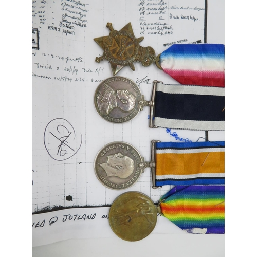 54 - Group of 4x medals from Jutland to M17038 H.T. Gay A.E.R.A.4.R.N. with all paperwork for recipient a...