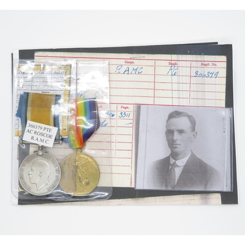 56 - 366379 Pte. A.C. Roscoe RAMC with paperwork and photo