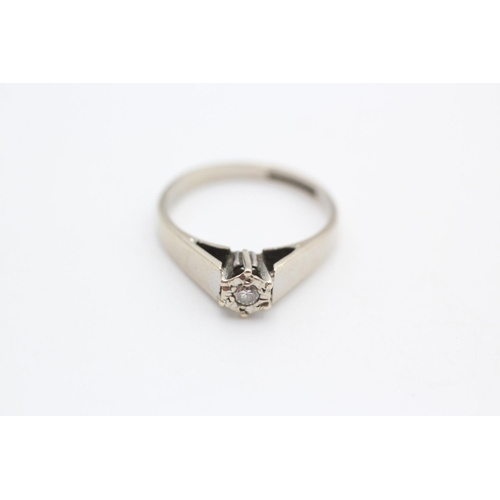 9ct white gold diamond solitaire ring size N