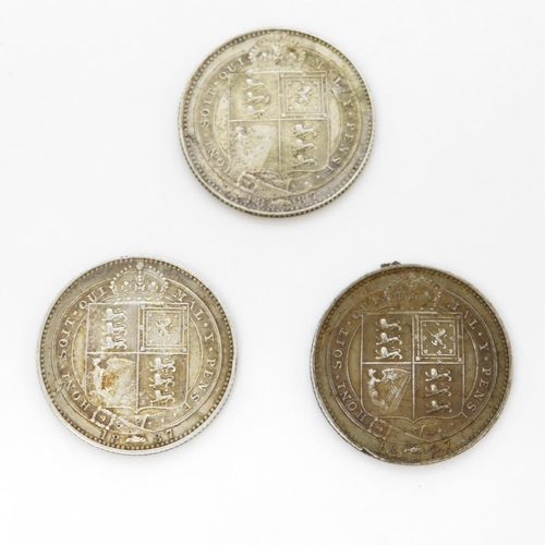 11 - 3x 1887 shillings  - two very fine condition and one good - very fine